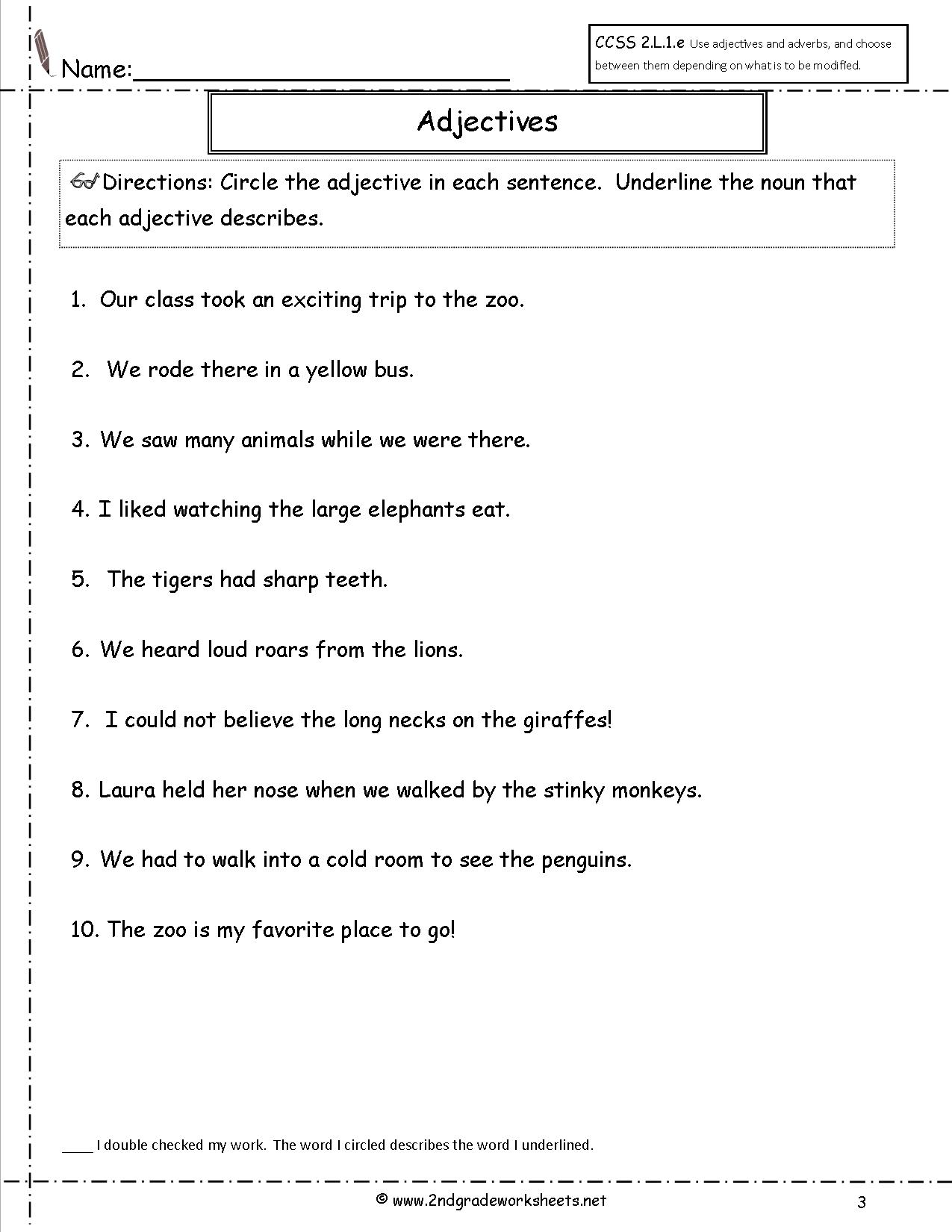 Worksheets Adjective Worksheets free using adjectives worksheets worksheet
