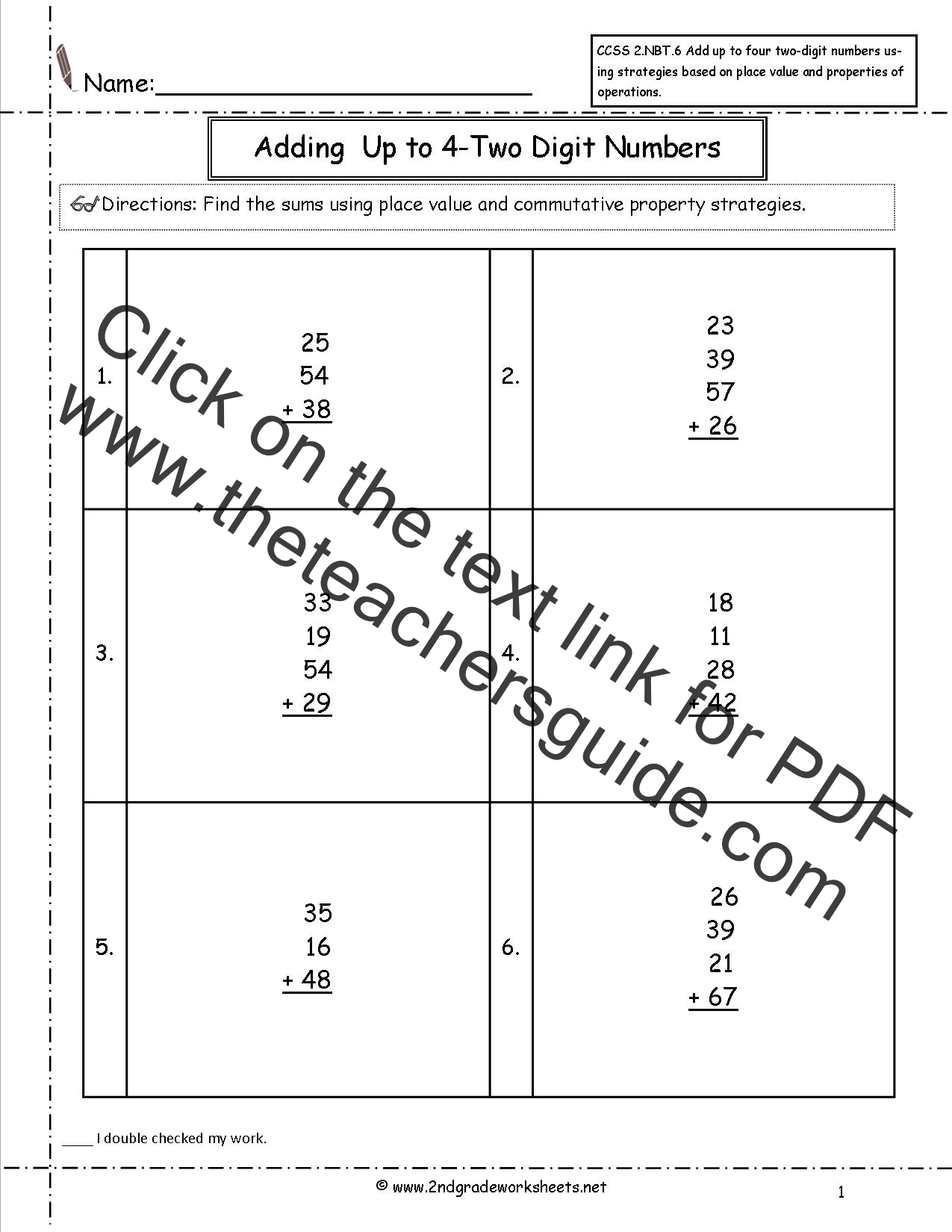 CCSS 2.NBT.6 Worksheets. Adding up to Four 2-Digit Numbers ...