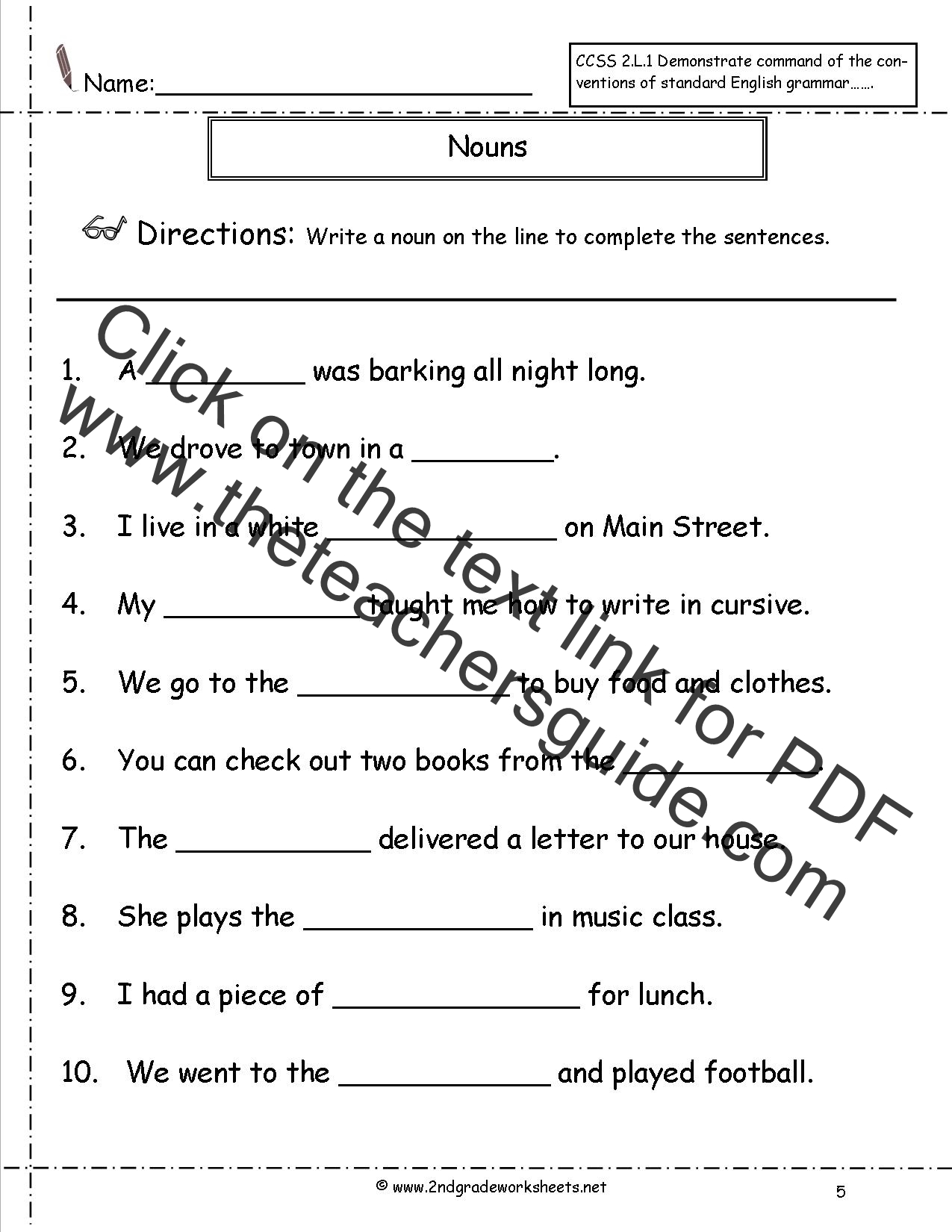 Printables Grammar Worksheets For 2nd Grade nouns worksheets and printouts worksheet