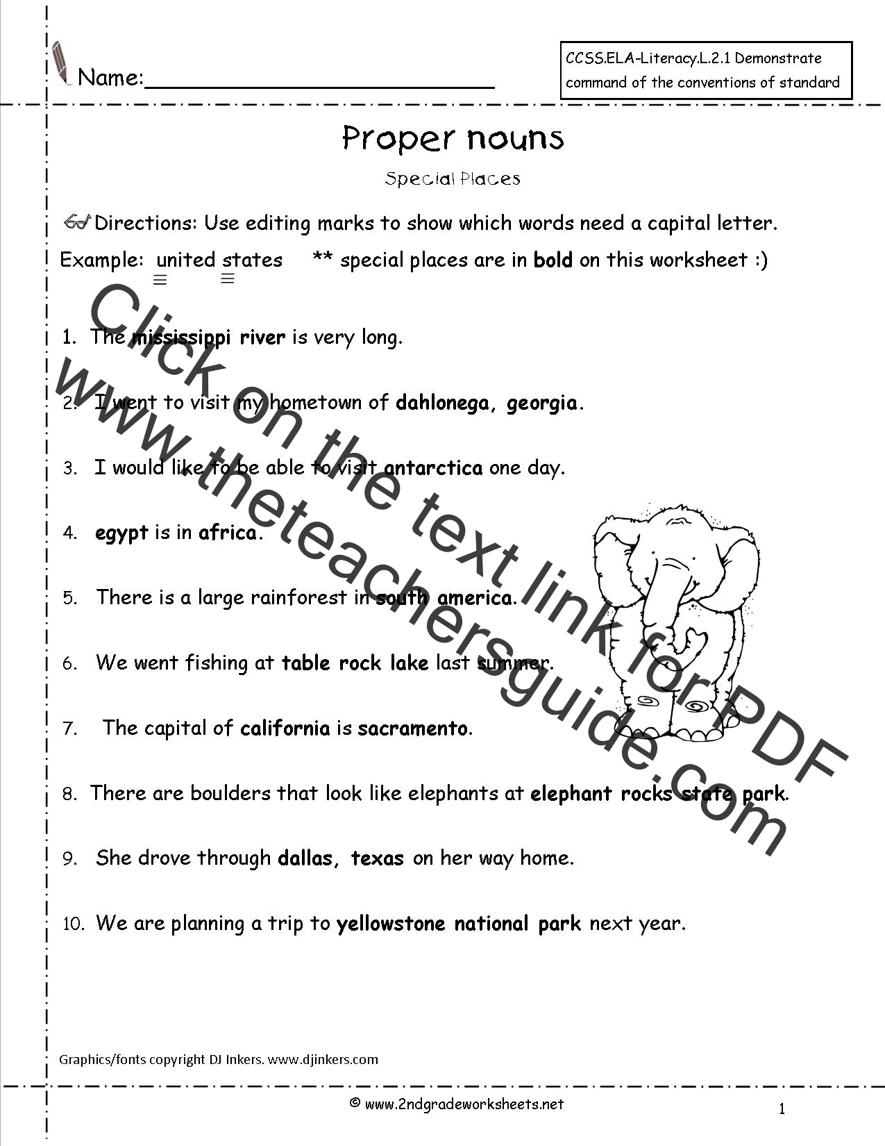 Printables Proper Noun Worksheets For 2nd Grade common and proper nouns worksheet