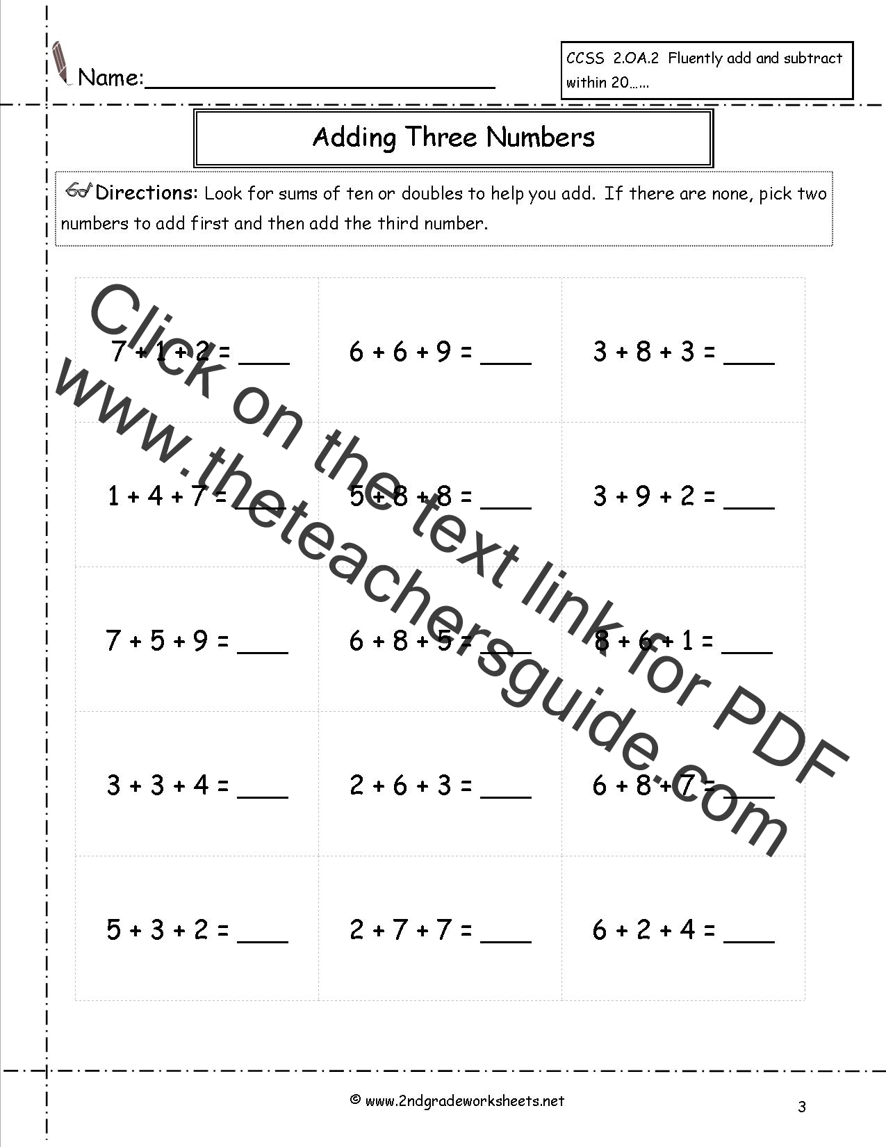 Adding Three or More Single Digits Addition Worksheets