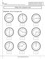 telling time to nearest quarter hour